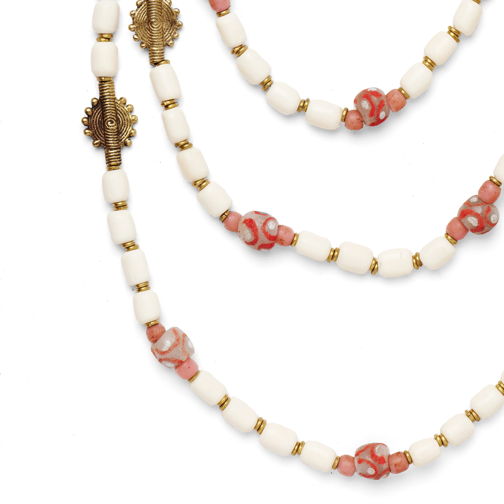 Bone And Pink Gashi Bead Rope Necklace With Brass Discs Maik Nyc