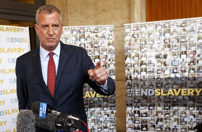 "New York City Mayor Bill de Blasio during the ""Modern Slavery and Climate Change"" conference at the Vatican July 21, 2015. Photo courtesy REUTERS/Tony Gentile"