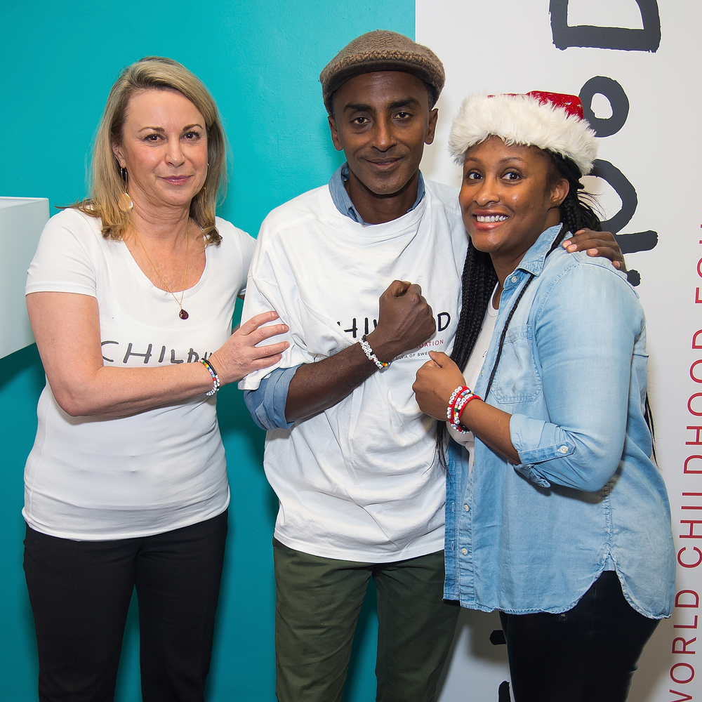 Childhood USA President and CEO Joanna Rubinstein, Chef Marcus Samuelsson and ThankYou by Childhood USA Project Manager Nicole Epps