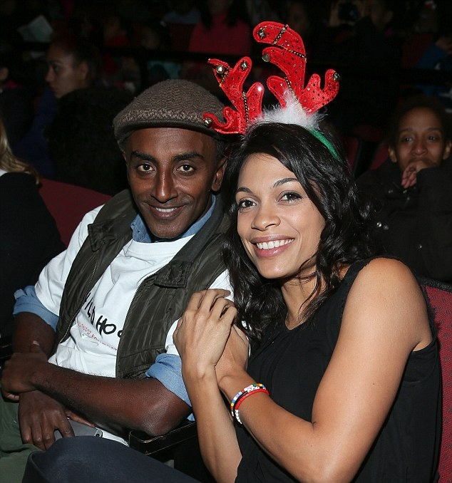 Rosario Dawson and Marcus Samuelsson representing Childhood USA at the West Harlem Holiday Party.