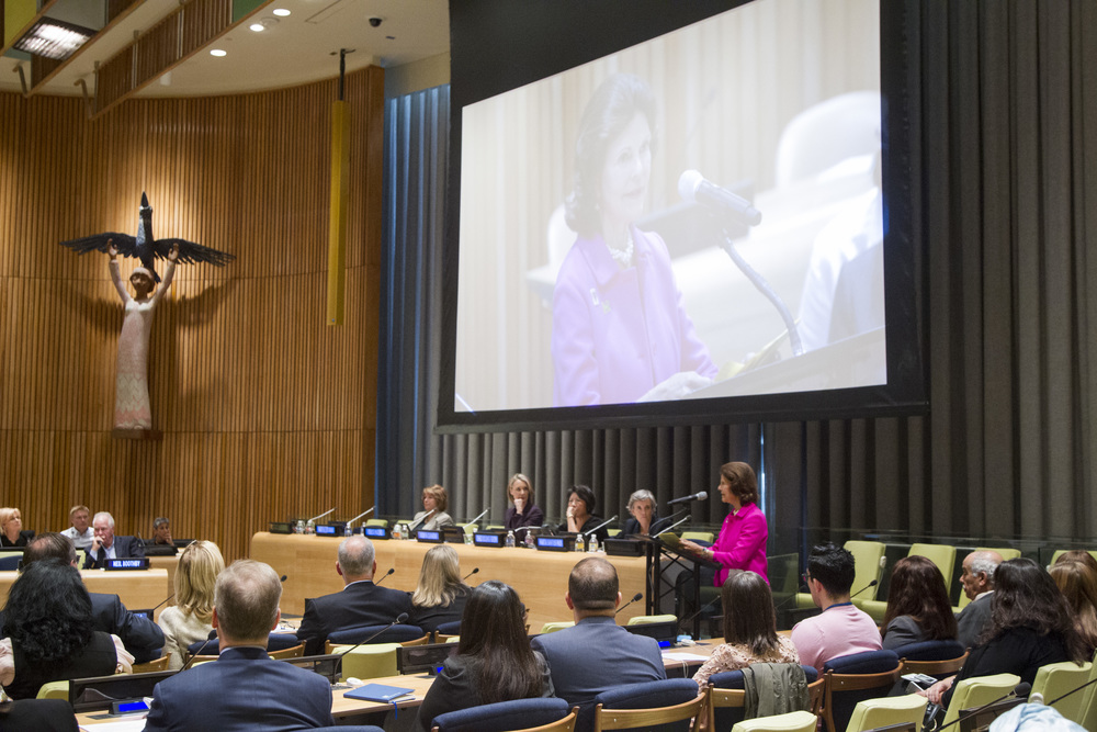 H.M Queen Silvia of Sweden delivering her keynote address at Childhood USA's co-hosted UN event.