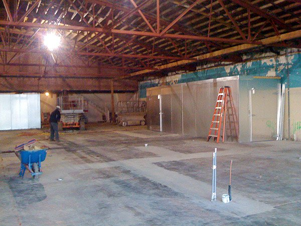Company Shops during the renovation process with the new freezers and coolers.