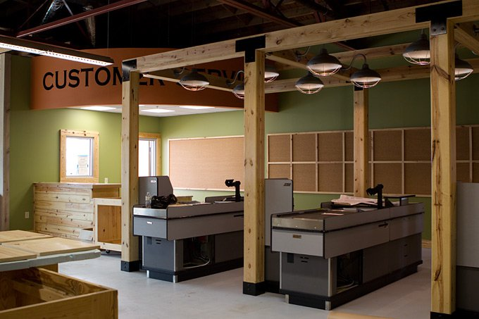 The new checkout stations and customer service desk.