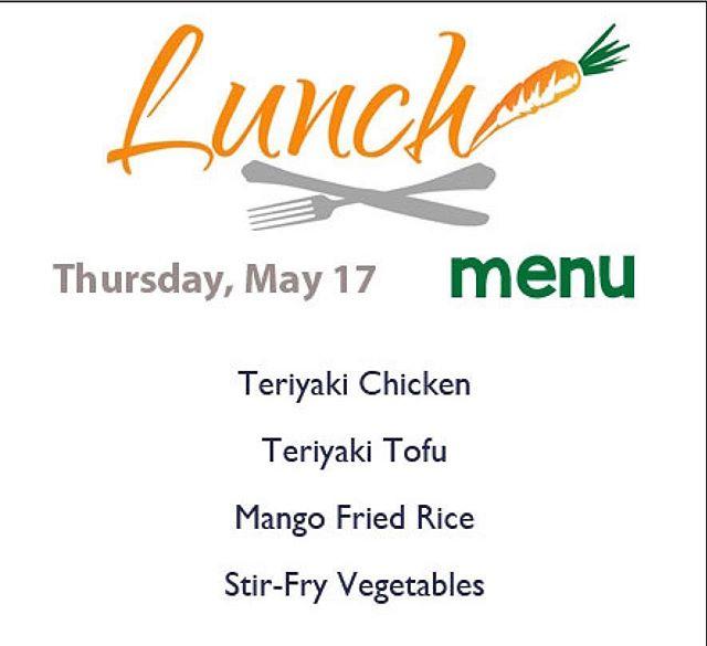 Here is our Asian-inspired menu, served from 11-2: - Teriyaki Chicken - Teriyaki Tofu - Mango Fried Rice - Stir-Fry Vegetables  #companyshops #burlingtondowntown #whatsforlunch #wheretoeat
