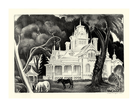 White Mansion by Mabel Dwight (1934), Lithograph.