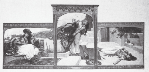 F. A. Bridgman's 1889 triptych,   Le Pirate d'amour.   The right panel is lost.