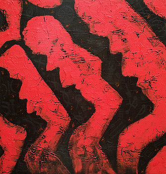 Owuo Sei Fie   by Sela Adjei, 2015. Acrylic on canvas.