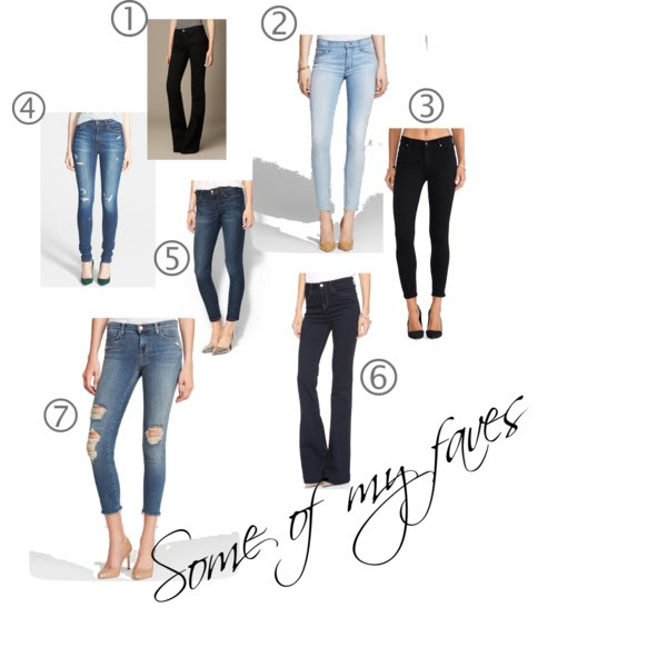 1. Burberry Flare Fit  // 2. Hudson Nico Super Skinny // 3. Citizens of Humanity Rocket Petite Skinny // 4. Joe's High Rise Skinny // 5. Joe's Skinny Ankle Jeans (on sale!) // 6. J Brand The Doll High Waist  // 7. J Brand Cropped Skinny in Fury