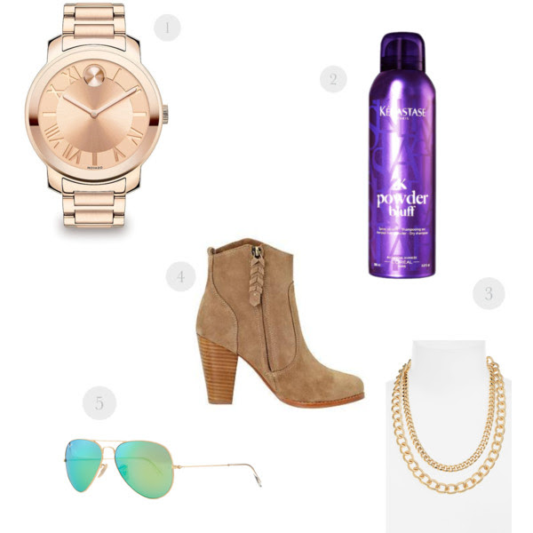 1.  Movado  (similar  here  and  here  --currently on sale!)  2.  Kerastase  (seriously life changing)  // 3.  Nordstrom brand  4.  Joie  // 5. Ray Bans (on sale  here )