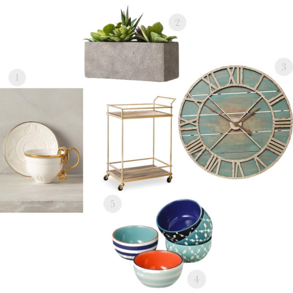 1.  Cup & Saucer  2.  Cement Succulent Box & Succulent  3.  Decorative Clock  (on sale!) 4. Similar  here  and  here  5.  Bar Cart  (love this  one  too)