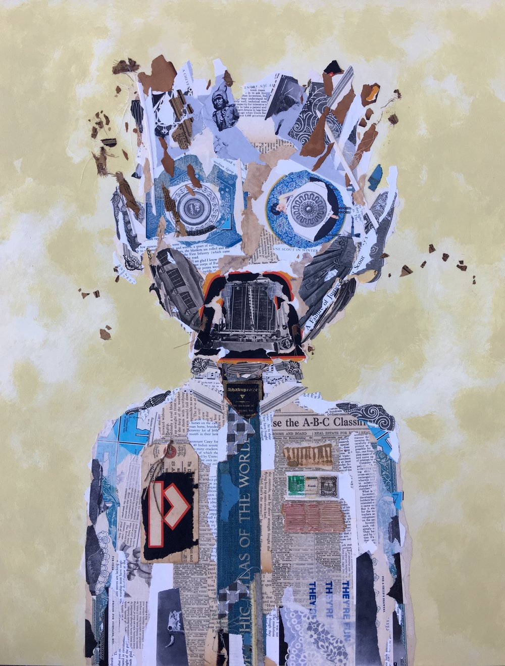 Frank - Mixed Media collage on panel 24x30Inches