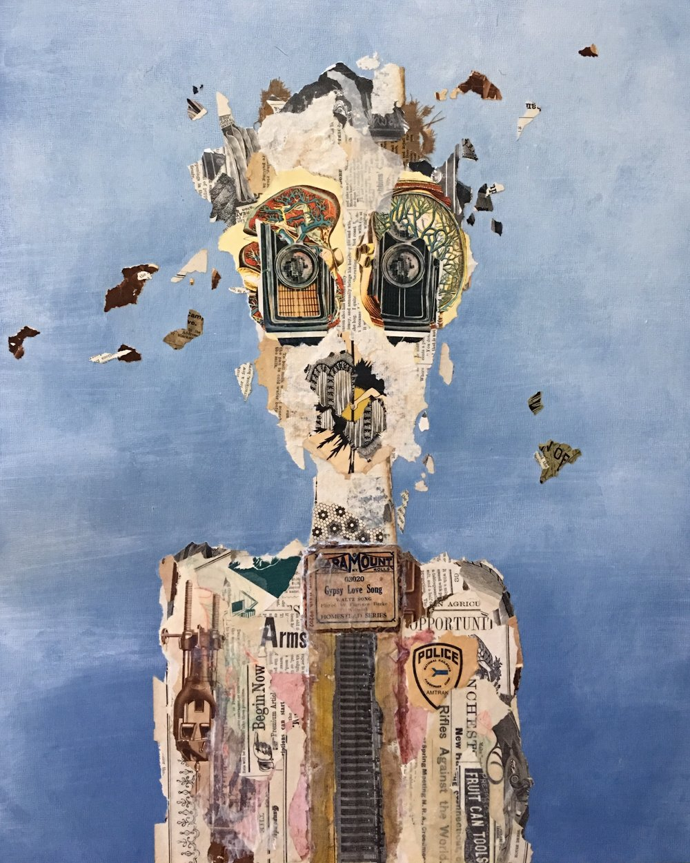 The Prepper - Mixed Media collage on panel 16x20inches