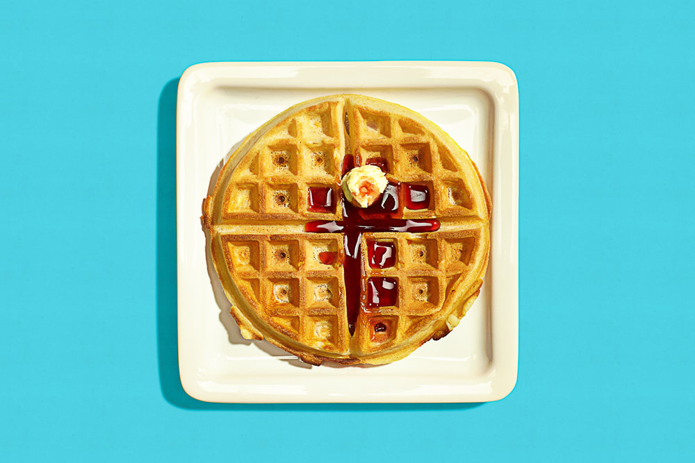 colorful high key photo of a waffle