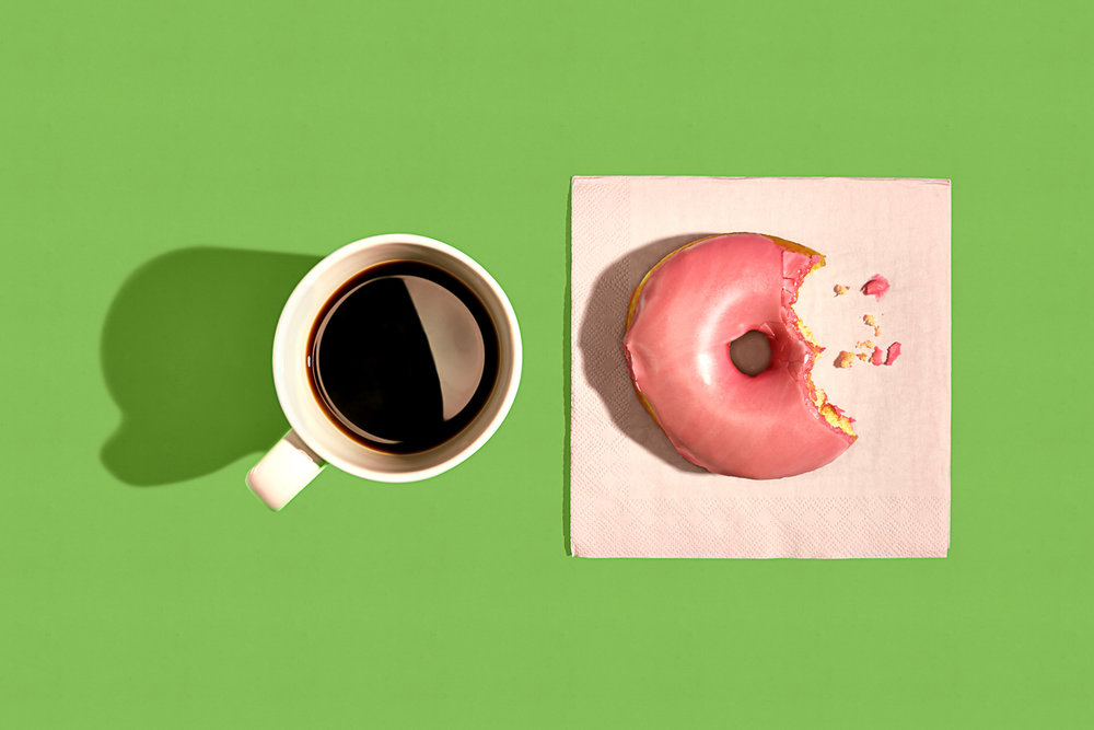 high contrast donut and coffee