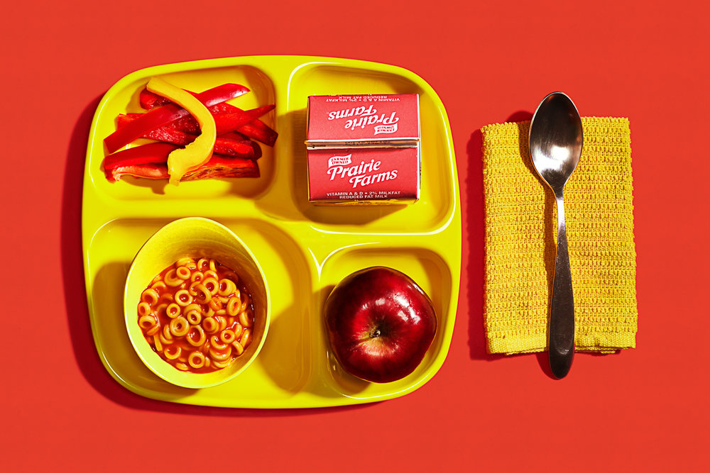 red and yellow kids lunch tray