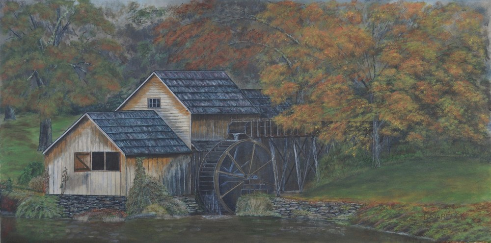 """Mabry Mill,' Floyd County, Virginia  Original: Acrylic on Canvas, 36"" x 18"""