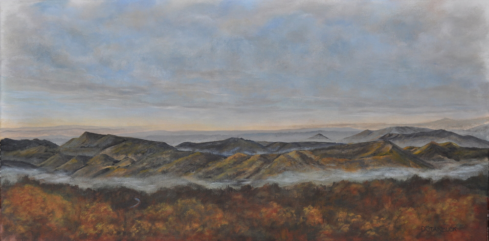 """For Miles & Miles"" A Blowing Rock Vista View, North Carolina  Original: Acrylic on Canvas, 36"" x 18"""