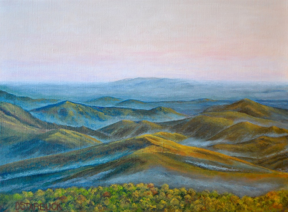 """Yadkin Valley Sundown"" Blue Ridge Parkway, North Carolina (SOLD)  Original: Acrylic on Linen, 16"" x 12"""