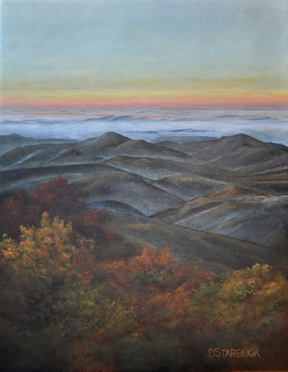 """Morning Glory"" at Stack Creek Overlook, Blue Ridge Parkway, North Carolina  Original: Acrylic on Linen, 14"" x 18"""