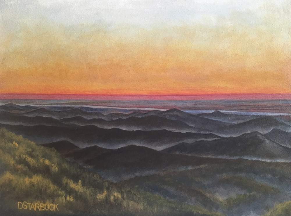 """Blue Ridge Day Break"" at Stack Creek Overlook, Blue Ridge Parkway, North Carolina  Original: Acrylic on Panel, 10"" x 13.5"""