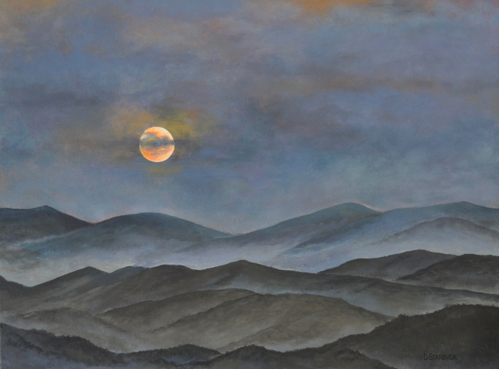 """Morning Moon On The Blue Ridge""  Original: Acrylic on Linen, 24"" x 18"""