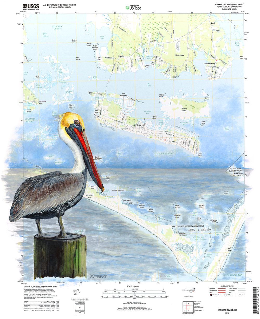 "Harkers Island Orientation, North Carolina   Original: 22"" x 27""   Limited Series Prints Available"