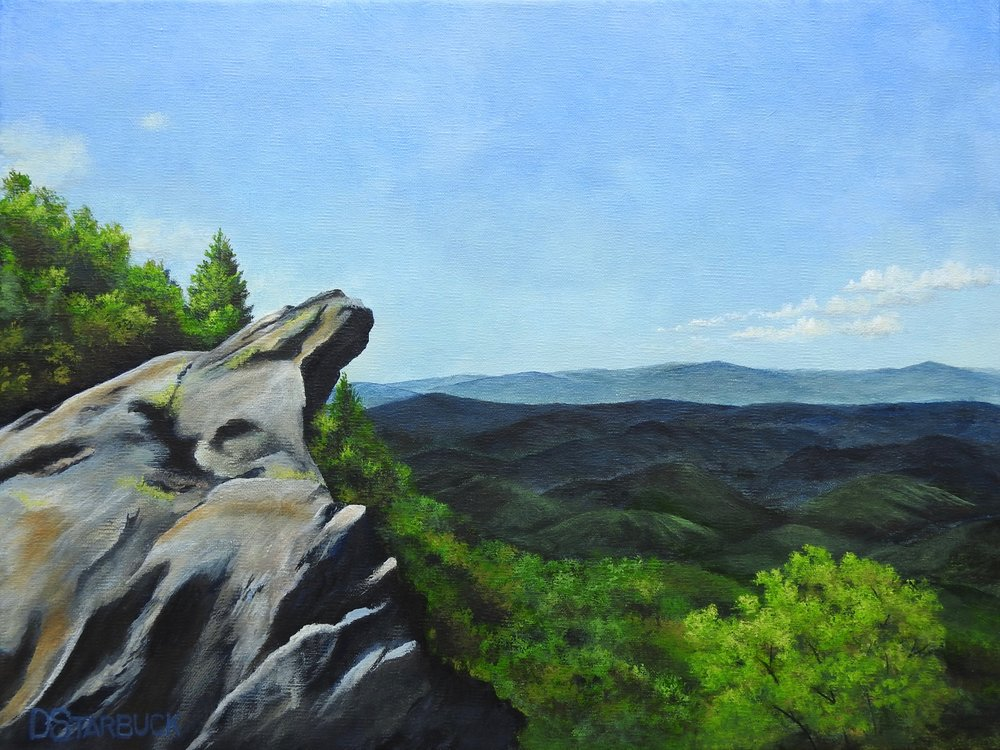 """View Made in NC, Blowing Rock"" North Carolina  Original: 16"" x 12"""