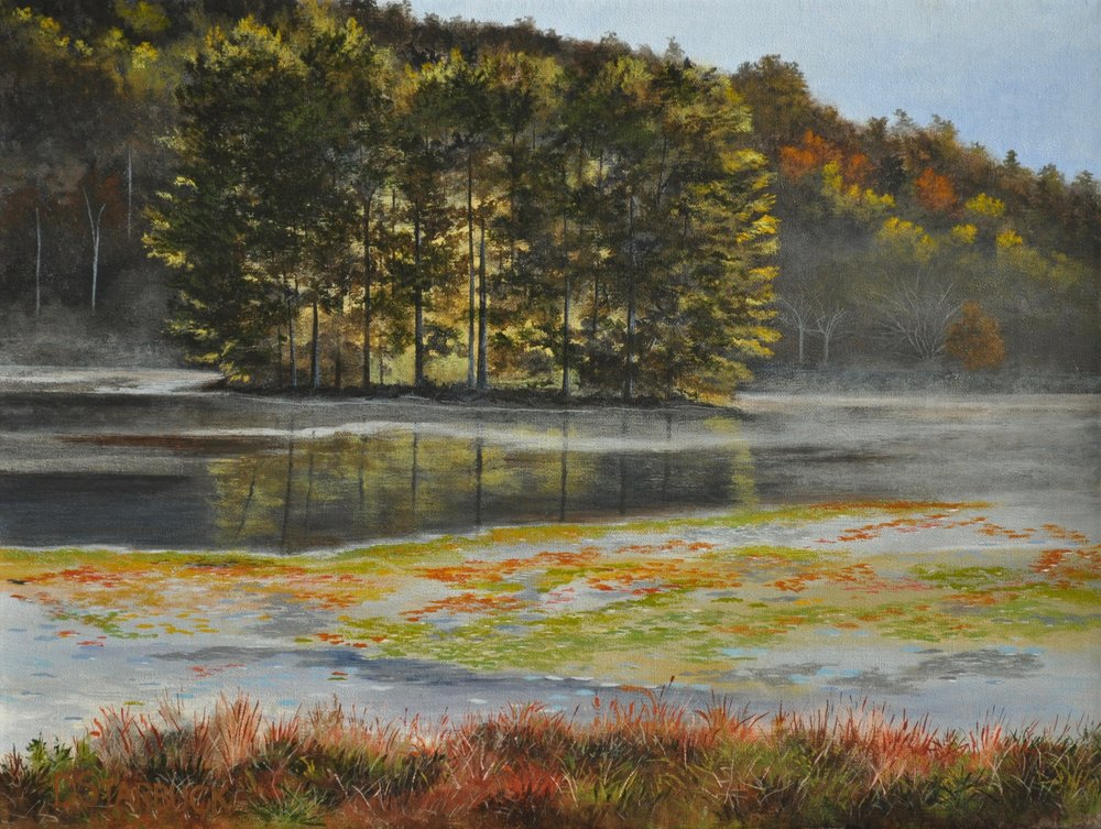 """Quiet Isolation @ Bass Lake,"" Blue Ridge Parkway, NC  Original: 16"" x 12"""