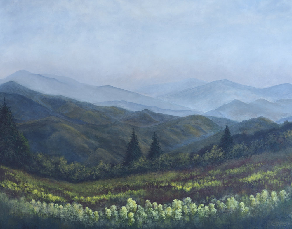 """Peace"" Blue Ridge Parkway, North Carolina  Original: Acrylic on Linen, 24"" x 18"""