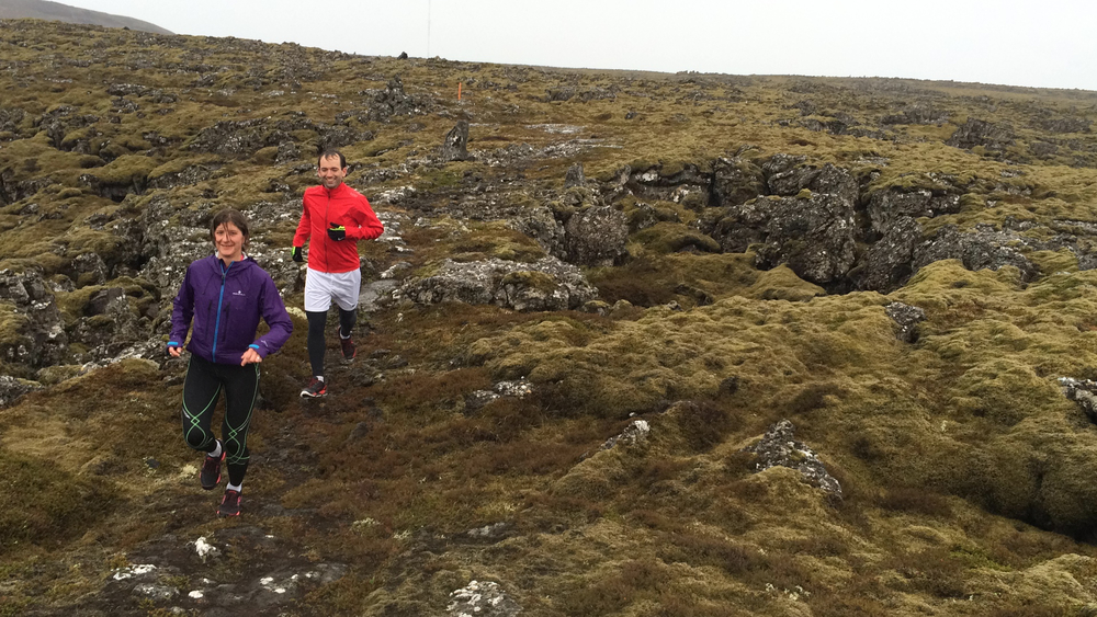 Running on a mossy landscape
