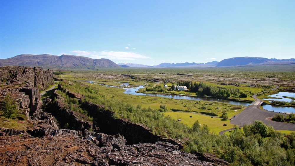Thingvellir in Iceland viewed above running