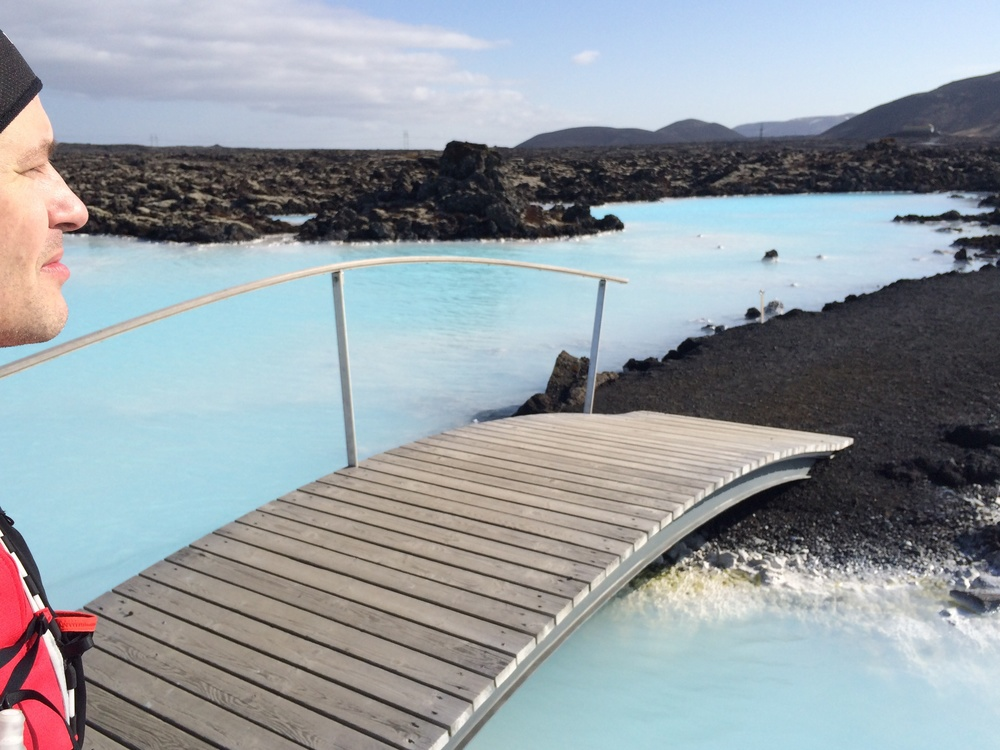Enjoying the view by the Blue Lagoon