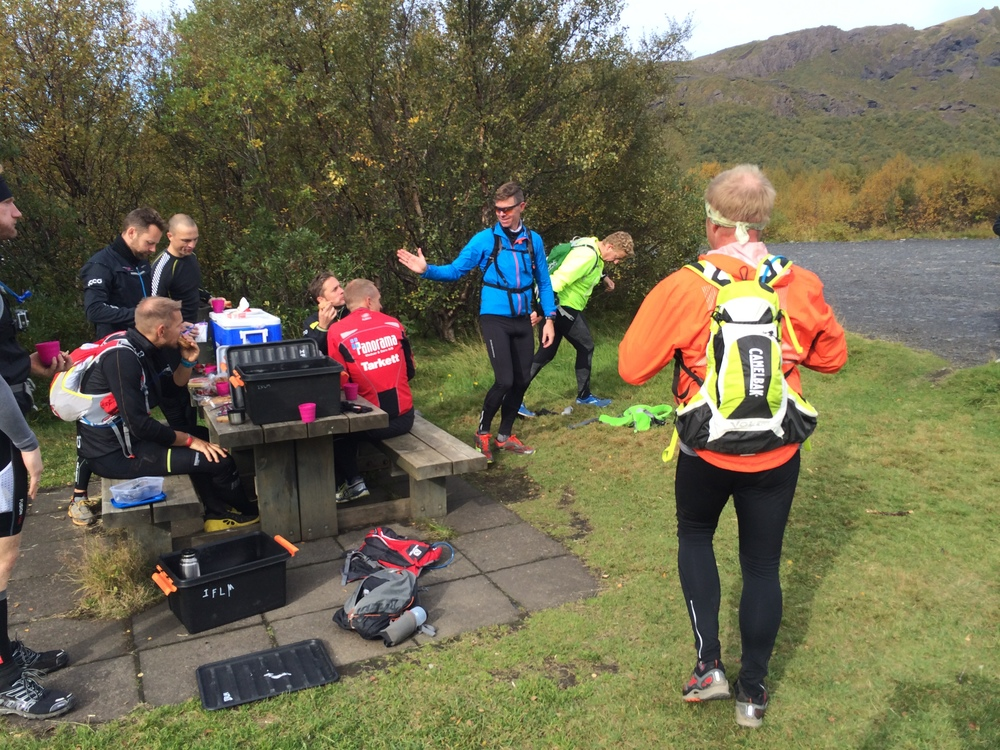 "The group resting at the ""finish line"" in Thorsmork"