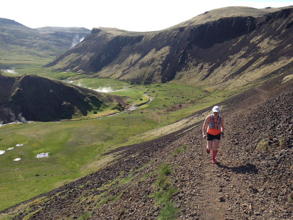 Running upwards in Reykjadalur