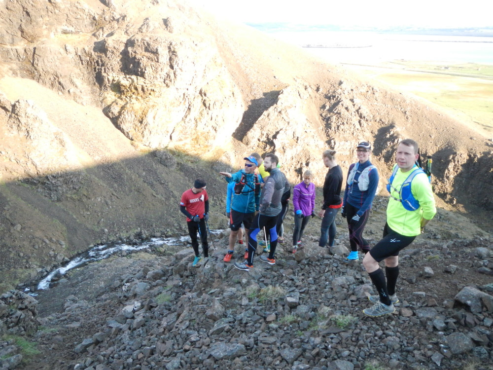 A running group looking around in a ravine