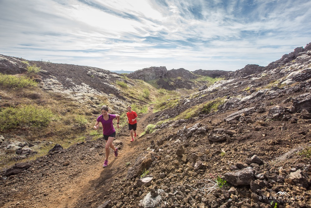 Running race on a lava trail