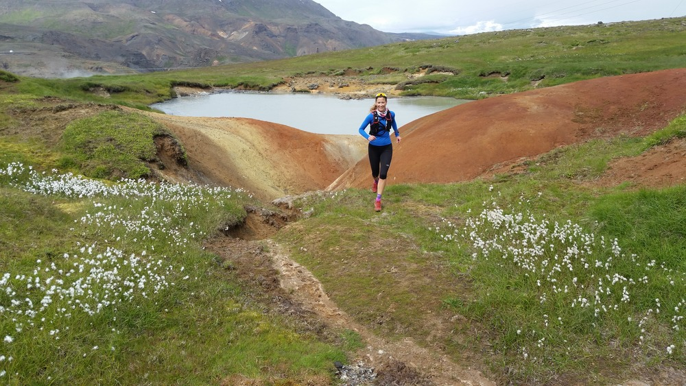 Running from a Crater uphill in Iceland