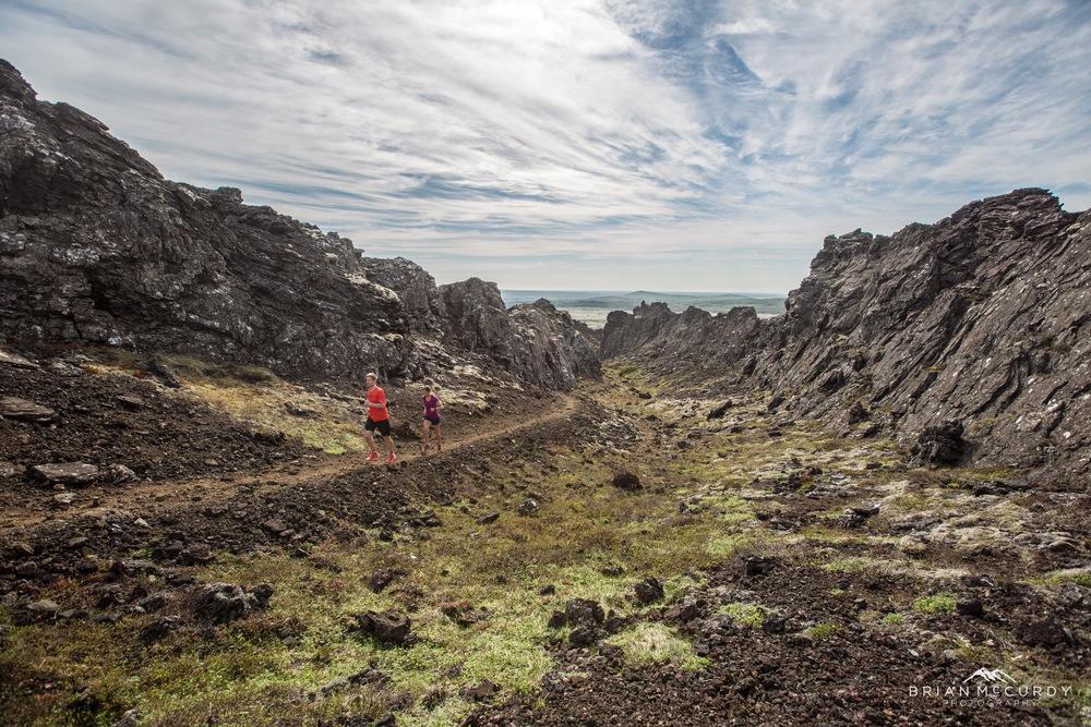 Running upwards in a lava fissure
