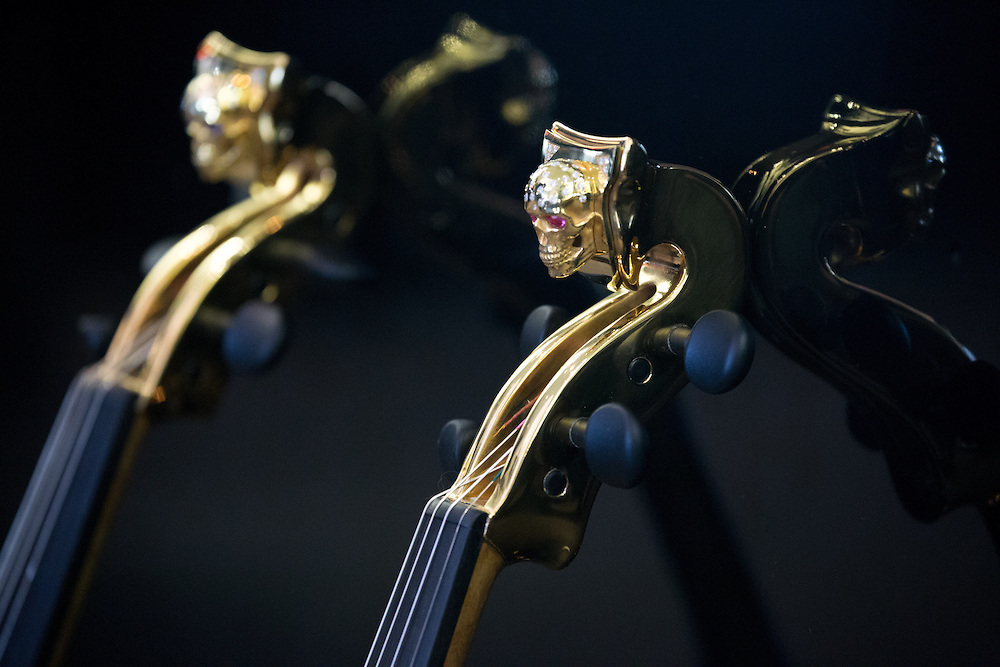 World's first 24 carat golden violins revealed by FUSE: Linzi Stoppard & Ben Kee at 'Theo Fennell' store, London,