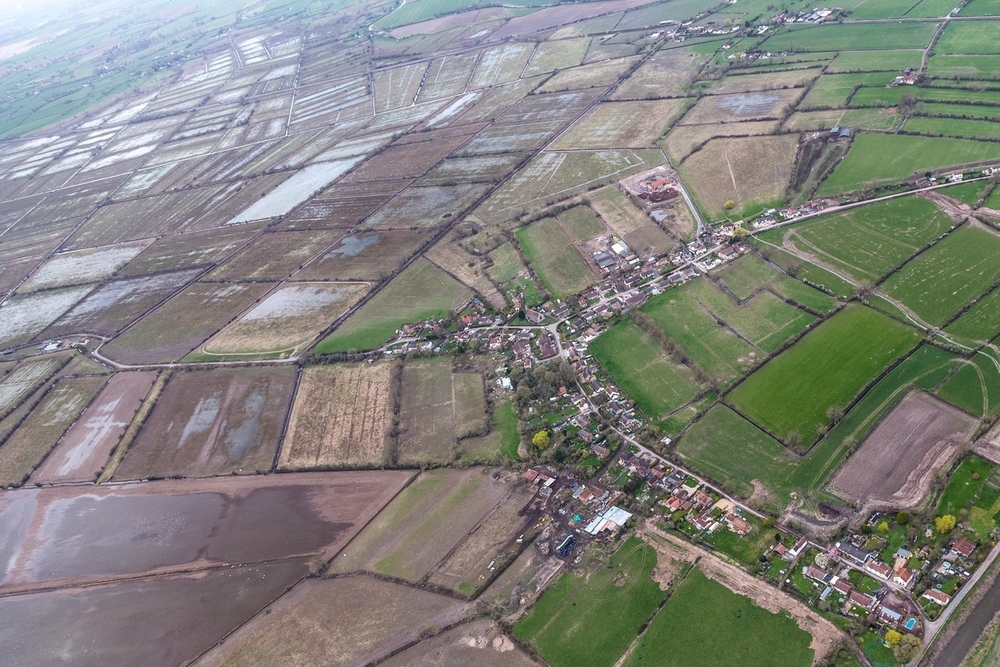 Post flood aerial view of Moorland.