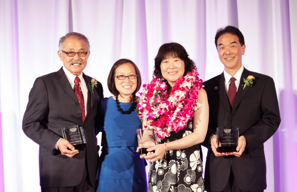 2014 Community Spirit Award Recipients Victor Fukuhara, Nancy Kikuchi, and Michael Okamura with JACCC President & CEO Leslie Ito