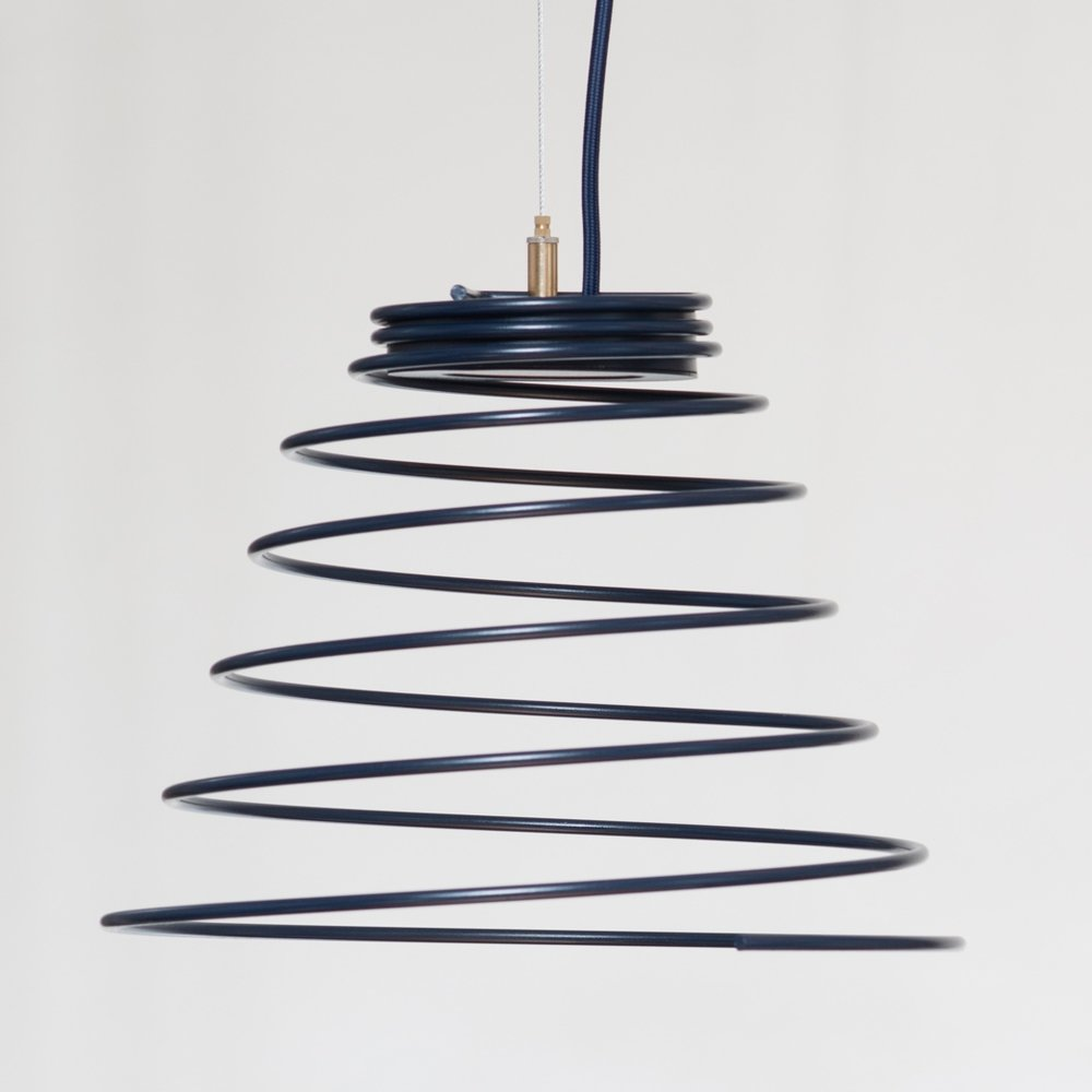 h7 pendant lamp, 2017   LED, powder coated steel, brass, fabric wrapped cord  finalist in Wanted Design  2017 Launch Pad Competition   available @  miklosfurniture.com