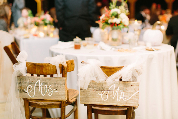 Rustic wooden Mr & Mrs signs