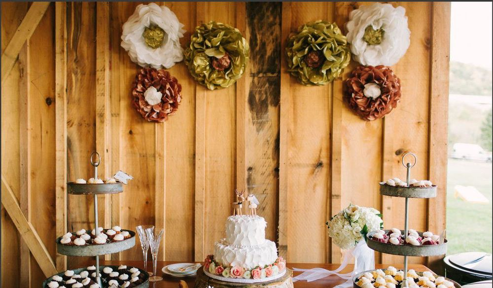 Dessert buffet with wedding cake and wreaths