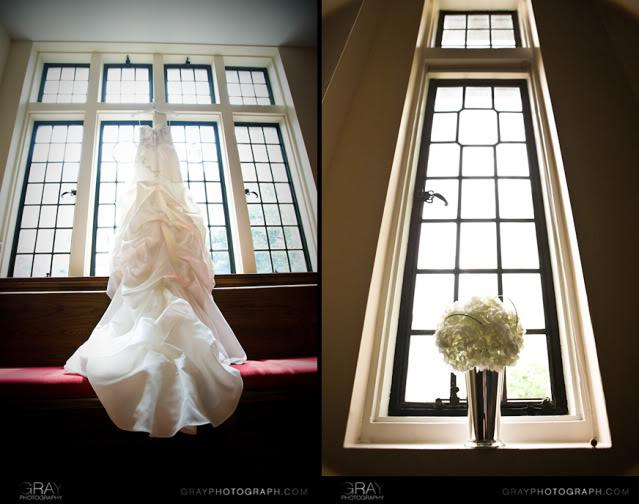 Wedding dress and bouquet