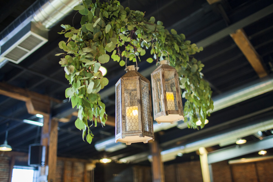 Eucalyptus swag with lanterns