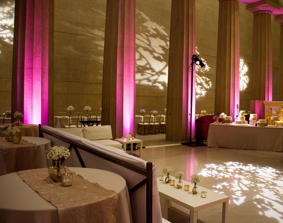 Nashville Parthenon washed in pink lights