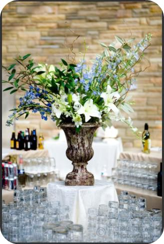 large vases near bar at reception