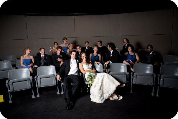 bridal party photos in the museum at Country Music Hall of Fame