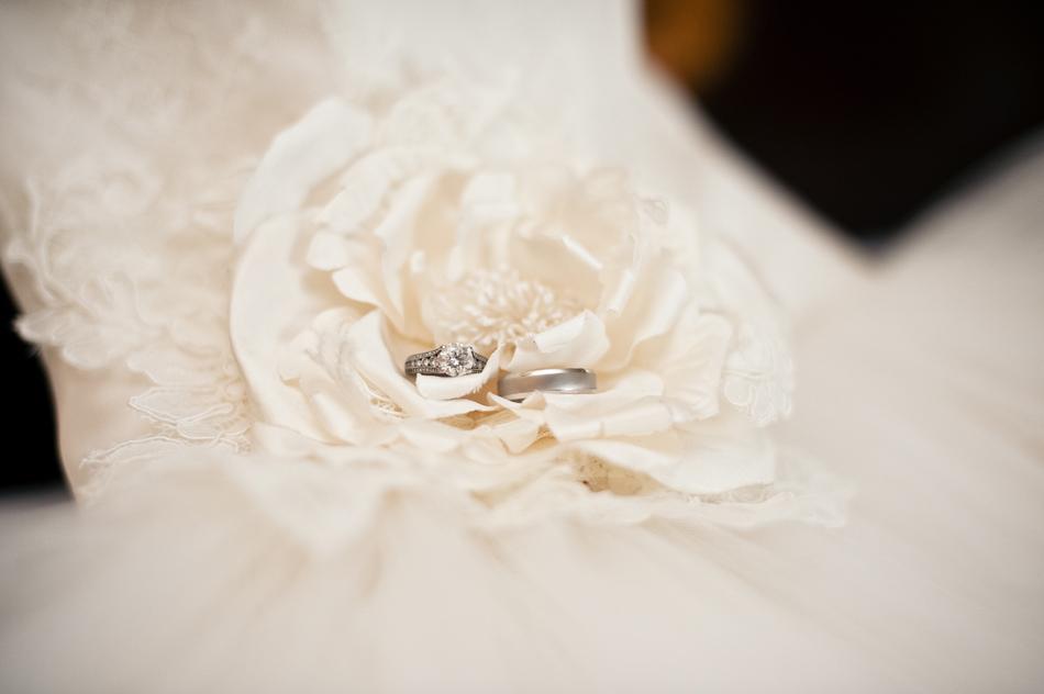Wedding dress with wedding rings